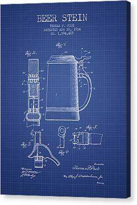 Glass Wall Canvas Print - Beer Stein Patent 1914 - Blueprint by Aged Pixel