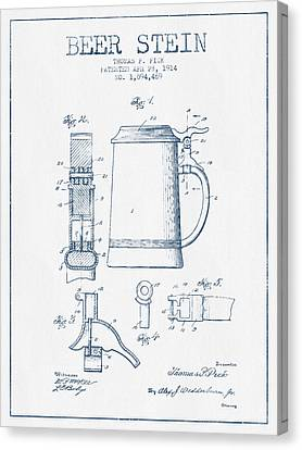 Beer Stein Patent From 1914 -  Blue Ink Canvas Print by Aged Pixel