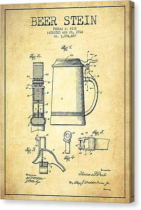 Beer Stein Patent From 1914 -vintage Canvas Print by Aged Pixel