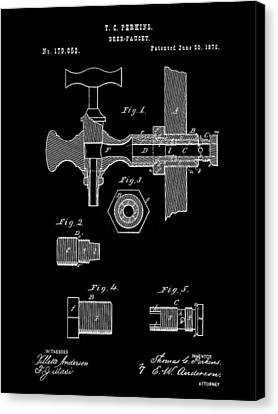 Beer Tap Patent 1876 - Black Canvas Print by Stephen Younts