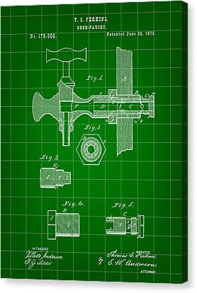 Beer Tap Patent 1876 - Green Canvas Print by Stephen Younts