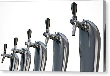 Beer Tap Row Isolated Canvas Print by Allan Swart