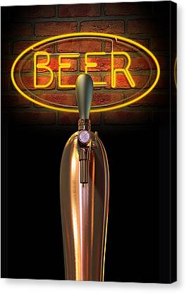 Beer Tap Single With Neon Sign Canvas Print