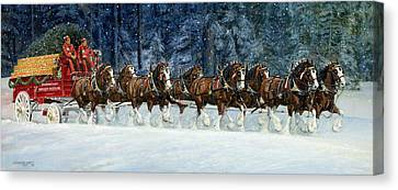 Clydesdales 8 Hitch On A Snowy Day Canvas Print by Don  Langeneckert