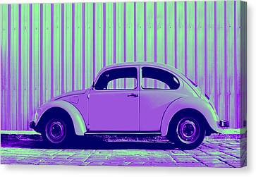 Volkswagon Canvas Print - Beetle Pop Purple by Laura Fasulo
