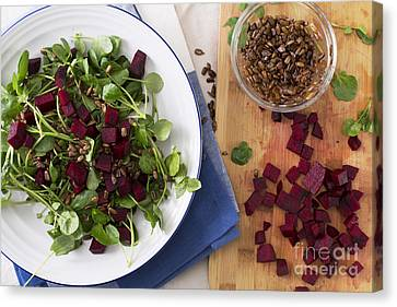 Beetroot Watercress Salad Canvas Print by Charlotte Lake