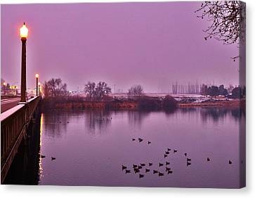 Canvas Print featuring the photograph Before Sunrise On The Bridge by Lynn Hopwood