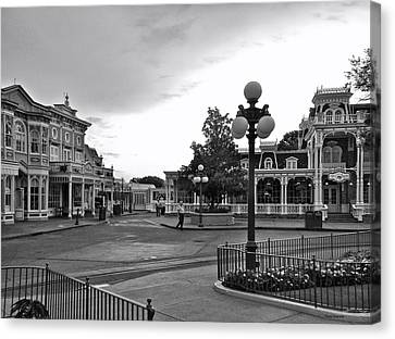 Before The Gates Open Black And White Magic Kingdom Walt Disney World Canvas Print by Thomas Woolworth