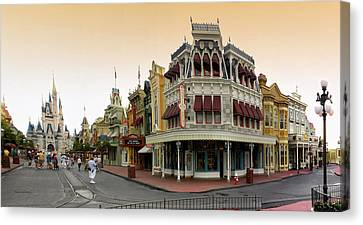 Before The Gates Open Early Morning Magic Kingdom With Castle. Canvas Print by Thomas Woolworth