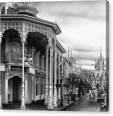 Before The Gates Open In Black And White Walt Disney World Canvas Print by Thomas Woolworth