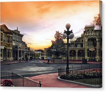 Before The Gates Open Magic Kingdom Walt Disney World Canvas Print by Thomas Woolworth