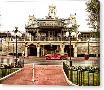Before The Gates Open The Magic Kingdom Train Station Canvas Print by Thomas Woolworth