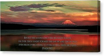 Bible Verse Canvas Print - Before The Mountains by Benjamin Yeager