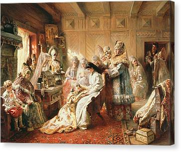 Dressing Room Canvas Print - Before The Wedding, 1890 Oil On Canvas by Konstantin Egorovich Makovsky