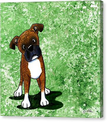 Befuddled Brindle Boxer Canvas Print by Kim Niles