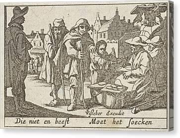 Beggars Receiving Alms Canvas Print by Pieter Hendricksz. Schut And Claes Jansz. Visscher (ii)