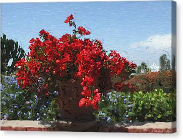 Blue Begonia Canvas Print - Begonias On The Patio by Mary Machare