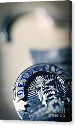 Canvas Print featuring the photograph Behind The Badge by Trish Mistric