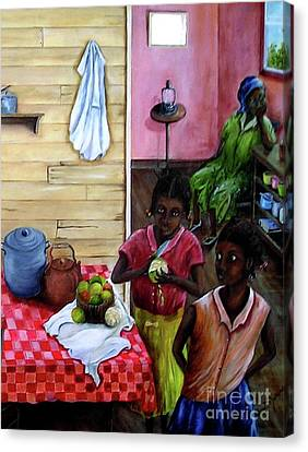 Canvas Print featuring the painting Behind The Blue Door by Anna-maria Dickinson