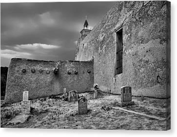 Behind The Church - San Jose De Gracia Church - New Mexico - Black And White Canvas Print by Nikolyn McDonald