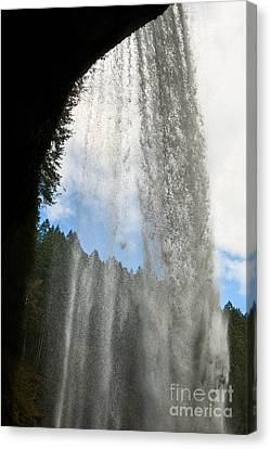 Behind The Curtain -  Lower South Waterfall In Silver Falls Stat Canvas Print by Jamie Pham