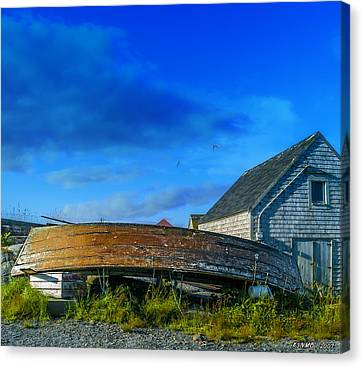 Behind The Fishing Shed Canvas Print by Ken Morris