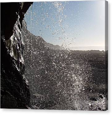 Behind The Waterfall Canvas Print by Richard Brookes