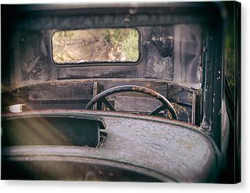 Old Trucks Canvas Print - Behind The Wheel by Peter Tellone