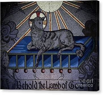 Shelley Myke Canvas Print - Behold The Lamb Of God Stained Glass Church Window  by Inspired Nature Photography Fine Art Photography