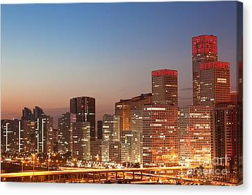 Beijing Central Business District Skyline At Sunset Canvas Print