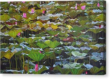 Canvas Print featuring the painting Beijing In August by Thu Nguyen