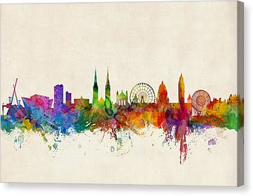 Belfast Northern Ireland Skyline Canvas Print by Michael Tompsett