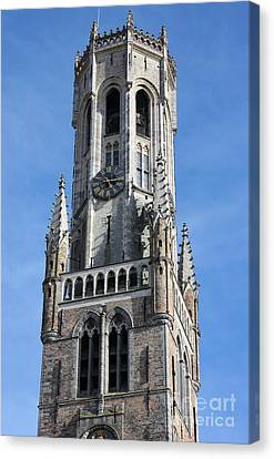 Belfry Tower In Bruges Belgium Canvas Print by Kiril Stanchev