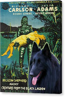 Belgian Shepherd Art Canvas Print - Creature From The Black Lagoon Movie Poster Canvas Print by Sandra Sij