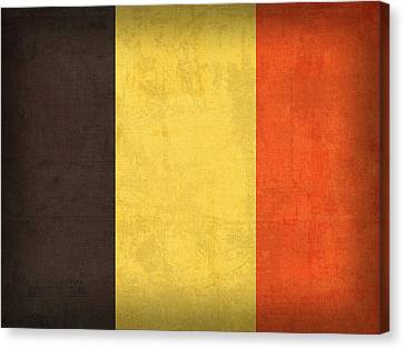 Belgium Flag Vintage Distressed Finish Canvas Print by Design Turnpike