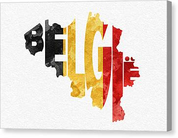 Belgium Typographic Map Flag Canvas Print by Ayse Deniz