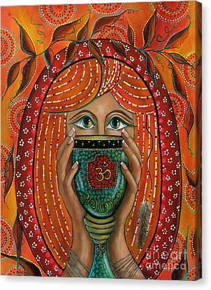 Canvas Print featuring the painting OM by Deborha Kerr
