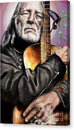 Believing In Rainbows And Butterflies-being Willie Canvas Print by Reggie Duffie
