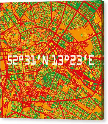 Stadt Canvas Print - Berlin Map by Big City Artwork