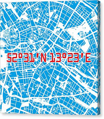 Stadt Canvas Print - Berlin Map Blue by Big City Artwork