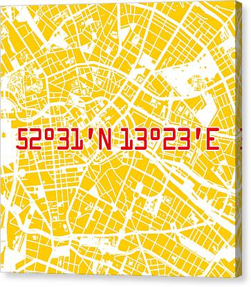Stadt Canvas Print - Berlin Map Yellow by Big City Artwork