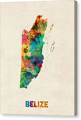 Belize Watercolor Map Canvas Print by Michael Tompsett
