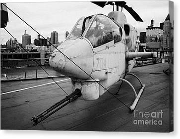 Bell Ah1j Ah 1j Sea Cobra On Display On The Flight Deck Of The Uss Intrepid New York Canvas Print by Joe Fox