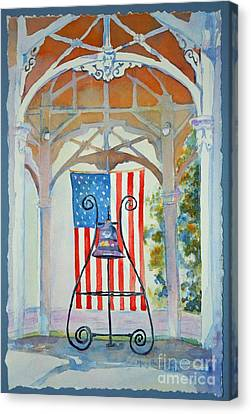 Canvas Print featuring the painting Bell And Flag by Mary Haley-Rocks