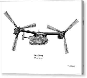 Canvas Print featuring the drawing Bell-boeing Cv-22b Osprey by Arthur Eggers