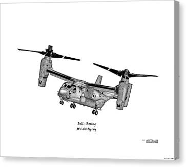 Canvas Print featuring the drawing Bell-boeing Mv-22b Osprey by Arthur Eggers