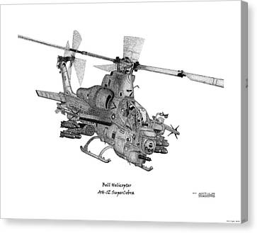 Canvas Print featuring the drawing Bell Helicopter Ah-1z Supercobra by Arthur Eggers
