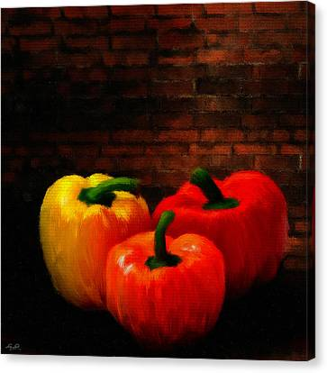 Bistro Canvas Print - Bell Peppers by Lourry Legarde