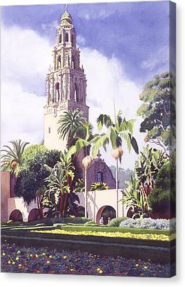 Bell Tower In Balboa Park Canvas Print by Mary Helmreich