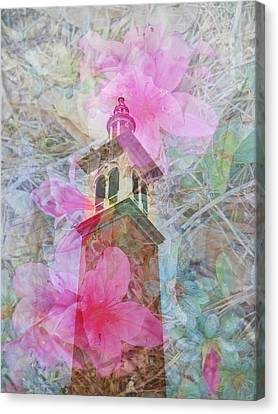 Bell Tower Wrapped In Spring Canvas Print by Judy Hall-Folde